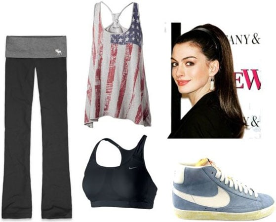Last minute outfit 3: Gym look - yoga pants, tank, sports bra, sneakers, ponytail