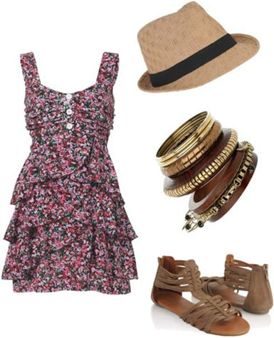 Last minute outfit 4: Pretty dress, sandals, bangles, fedora