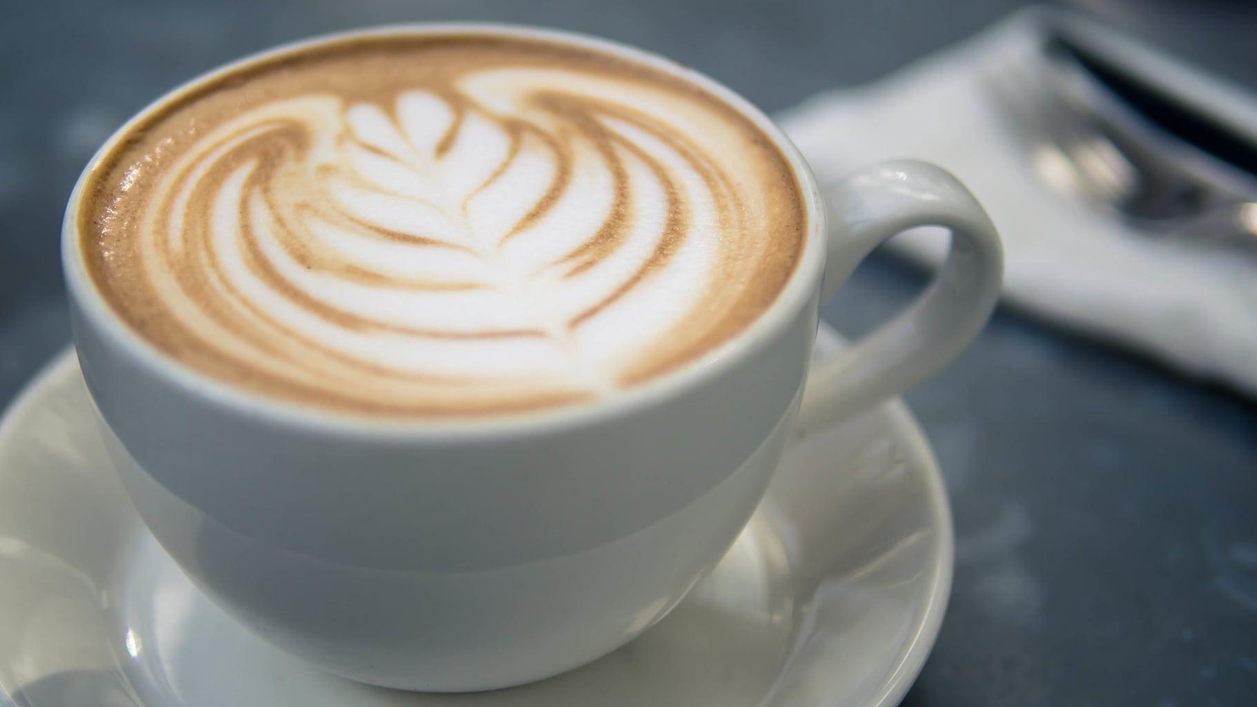 Latte with milk swirl art