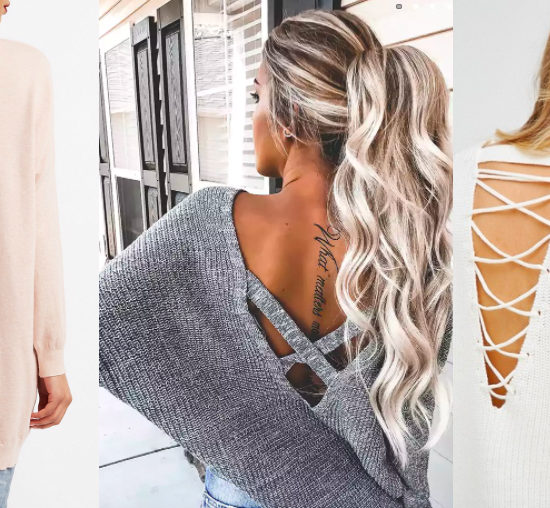Lattice back sweater trend (from left to right): long soft pink sweater from Charlotte Russe, oversized grey ribbed sweater from Forever 21, and a chunky white sweater from ASOS.