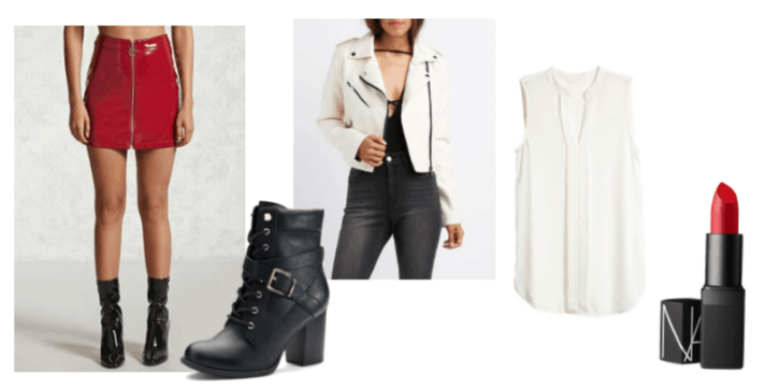 Outfit Inspired by Lauren Blackwell from Blackwell video game series: Nars Cosmetics Jungle Red Lipstick, black, high-heel combat boots, white faux leather moto jacket, white, sleeveless top and a red, patent leather skirt