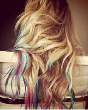 Lauren Conrad with pink and blue dip dyed hair tips