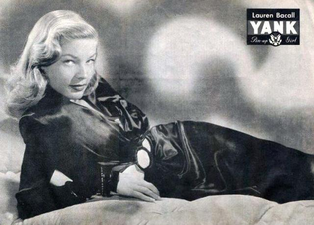 Laure Bacall for the 1944 issue of Yank, The Army Weekly