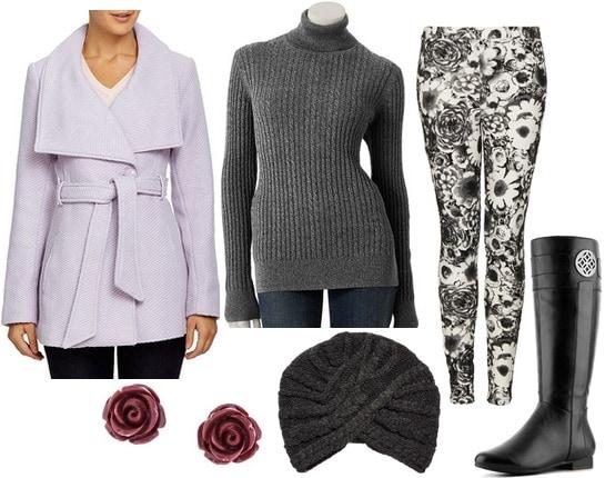 Lavender coat outfit