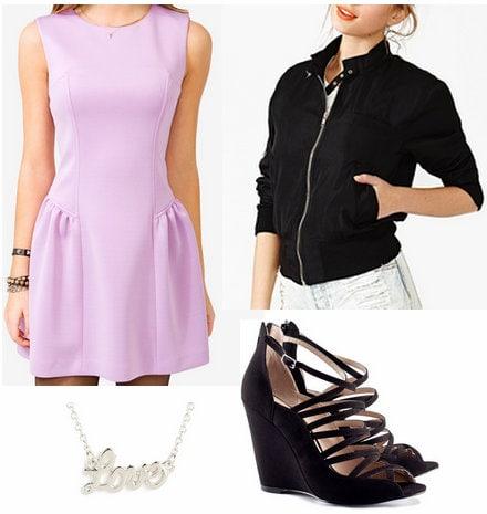 Lavender dress, bomber jacket, wedges