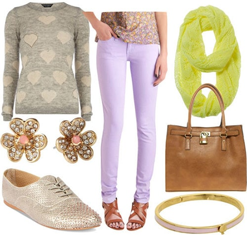 Lavender jeans daytime outfit