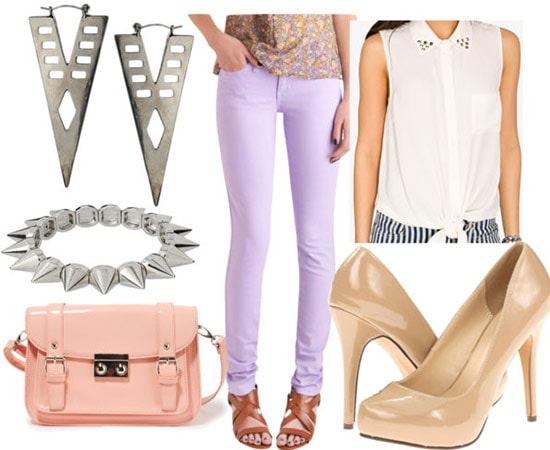 How to style lavender jeans for a party or night out