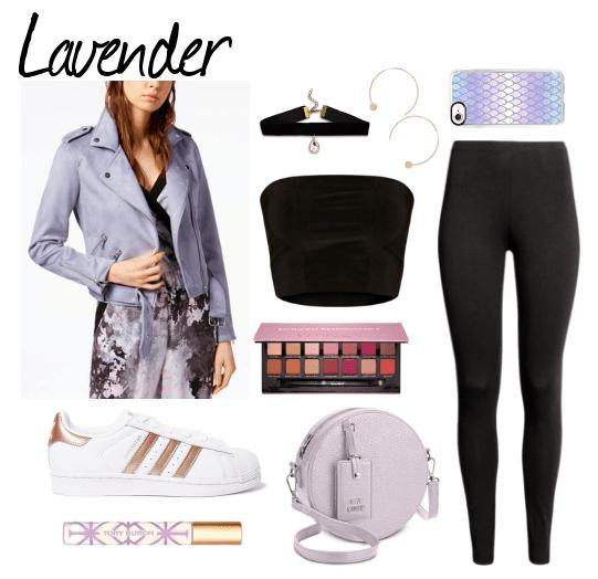 lavender moto jacket, adidas sneakers, Tory Burch fragrnace, choker, bandeau top, eyeshadow palette, lavender bag, hoop earrings, phone case, black leggings