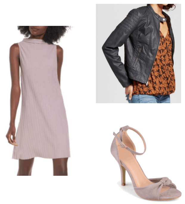 How to wear Spring 2018 trends right now: Lavender dress paired with lavender heels and a black moto jacket