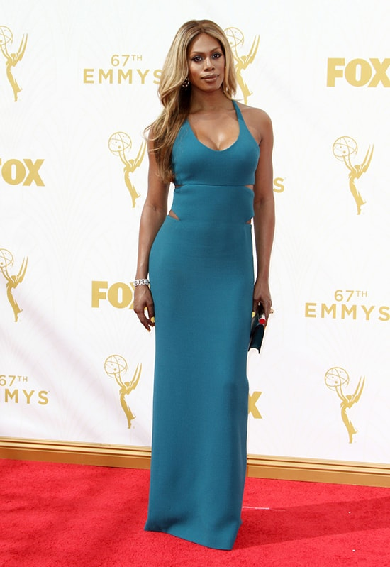 Laverne Cox in Calvin Klein at the 2015 Emmy Awards