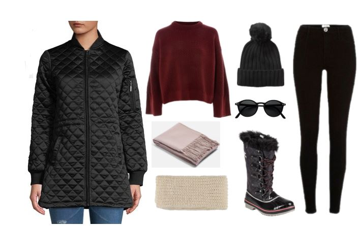 Milwaukee is known for its cold inconsistent weather, so make sure to dress in lots of layers! This look includes a long black puffer jacket; oversized red sweater; multiple scarfs; beanie, black jeggings; and snow boots