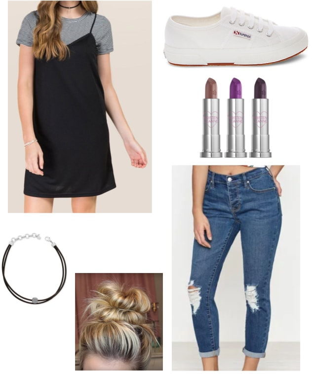 Layered slip dress with a striped tee shirt layer -- how to wear this dress with white sneakers, skinny jeans, a messy bun, a choker and dark lipstick