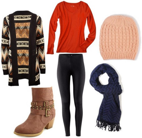 Layered outfit 2: Geometric cardigan over long-sleeved shirt with beanie hat, scarf, ankle boots and skinny black jeans