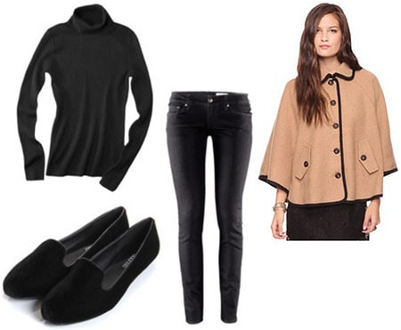 Layered outfit 3: Cape coat, turtleneck, skinny black jeans, flats