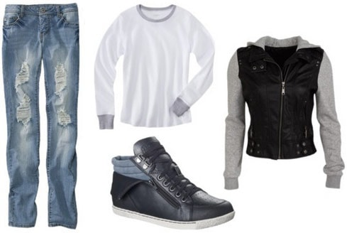 Layered outfit 4: Long sleeve tee, moto jacket, sneakers, boyfriend jeans