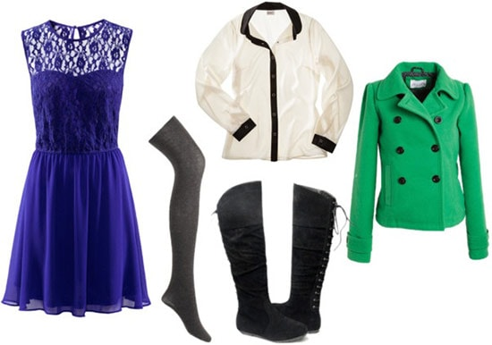 Layered outfit 5: Dress, long-sleeve shirt, tights, knee-high boots, pea coat