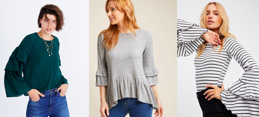Layered ruffle sleeve top trend (left to right): jade green crew neck long sleeve top from Madewell, 3/4 length sleeve heather grey top with soft peplum from Modcloth, and a black and white striped long sleeve fitted top with bell sleeves from Free People.