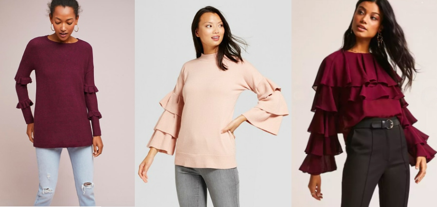 Layered ruffle sleeve trend (left to right): long plum sweater from Anthropologie, pale pink ruffle pullover sweater from Target, and tiered ruffle burgundy sweater from Forever 21.