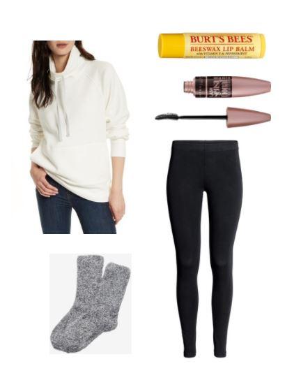 Date night outfits Lazy day date night in outfit idea: Cozy beige sweatshirt, black leggings, warm socks, beeswax lip balm, mascara
