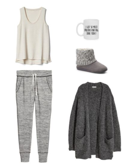 Fall weekend outfit for a night in: Cozy sweats, tank top, gray oversized cardigan, mug that reads 'I got so much procrastinating done today', gray fuzzy boots