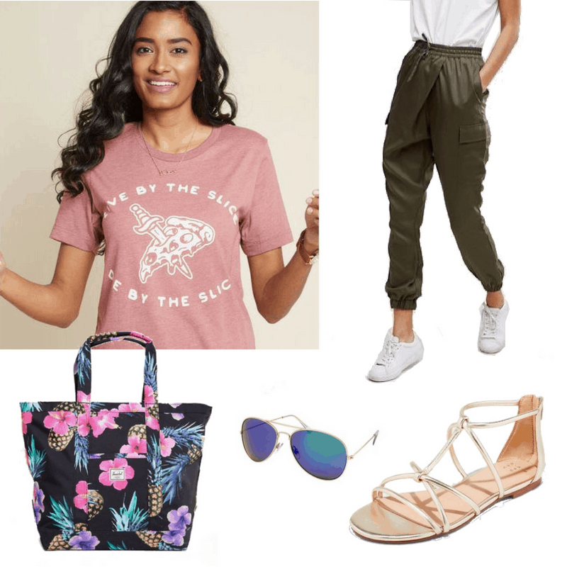 We love being comfortable and lazy but not looking like a slob. Pair army green utility joggers with a fun graphic tee for a cozy look without sacrificing style!