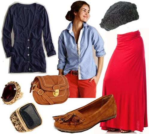 Lazy winter day outfit: Maxi skirt, button-down blouse, cozy cardigan, comfy accessories