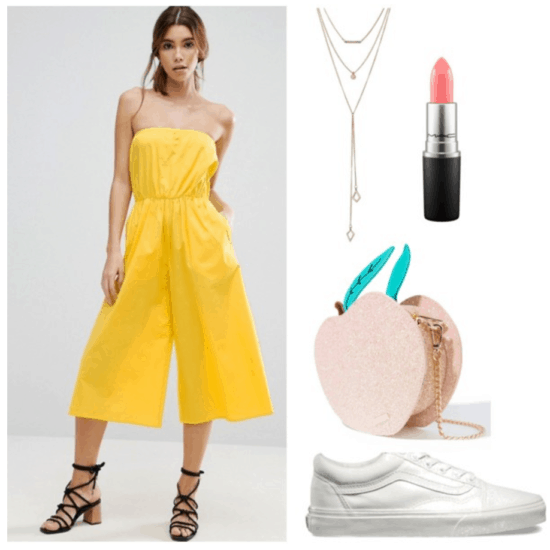 Lazy girl outfits: Yellow jumpsuit, white sneakers, peach bag
