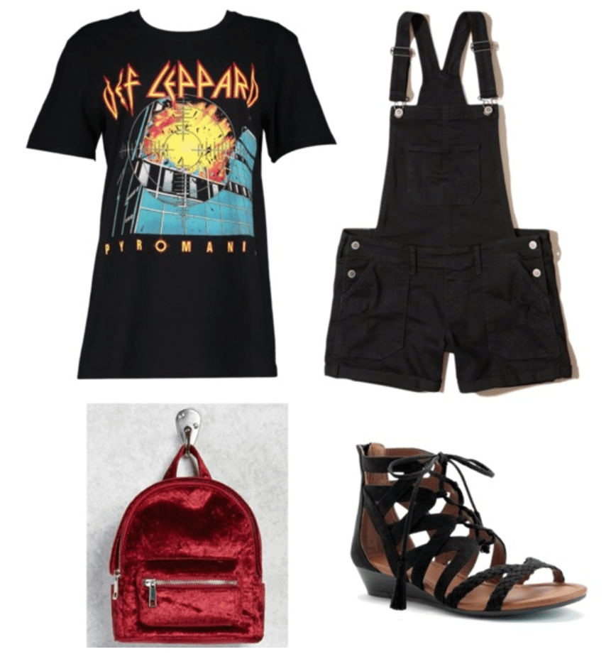 Lazy girl outfits: Band tee, black overalls, black sandals, red backpack
