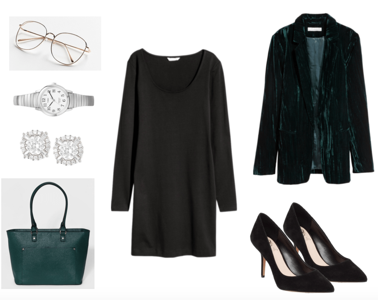 Little black dress outfit: LBD with teal blazer and tote for work or internship.