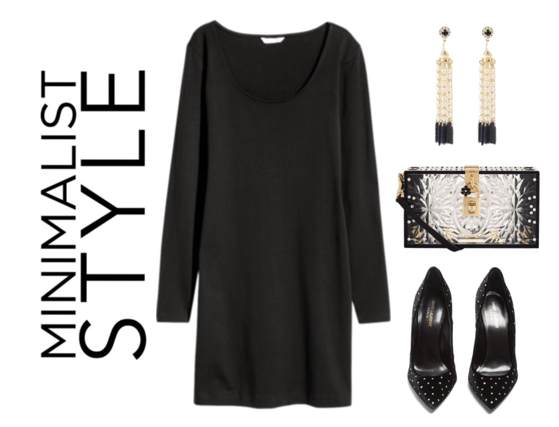 LBD with black and gold accessories.