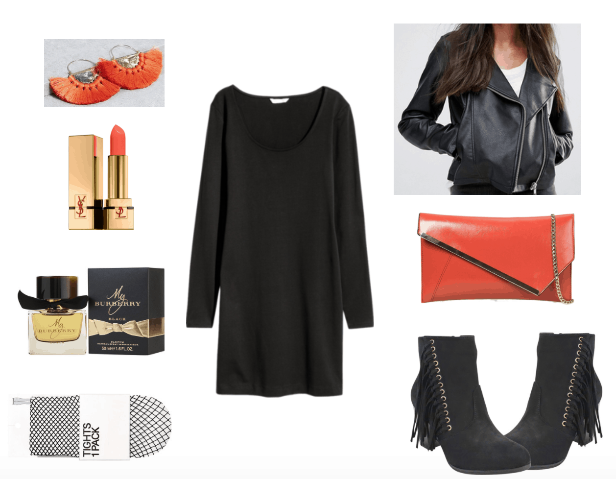 Little black dress outfit: LBD with orange clutch, earrings and lipstick.