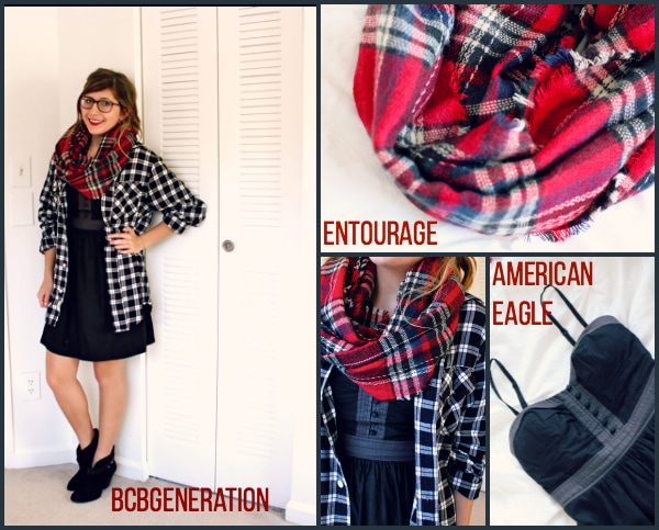 LBD-With-Plaid-Shirt-and-Plaid-Scarf-Black-Ankle-Boots-Summer-to-Fall