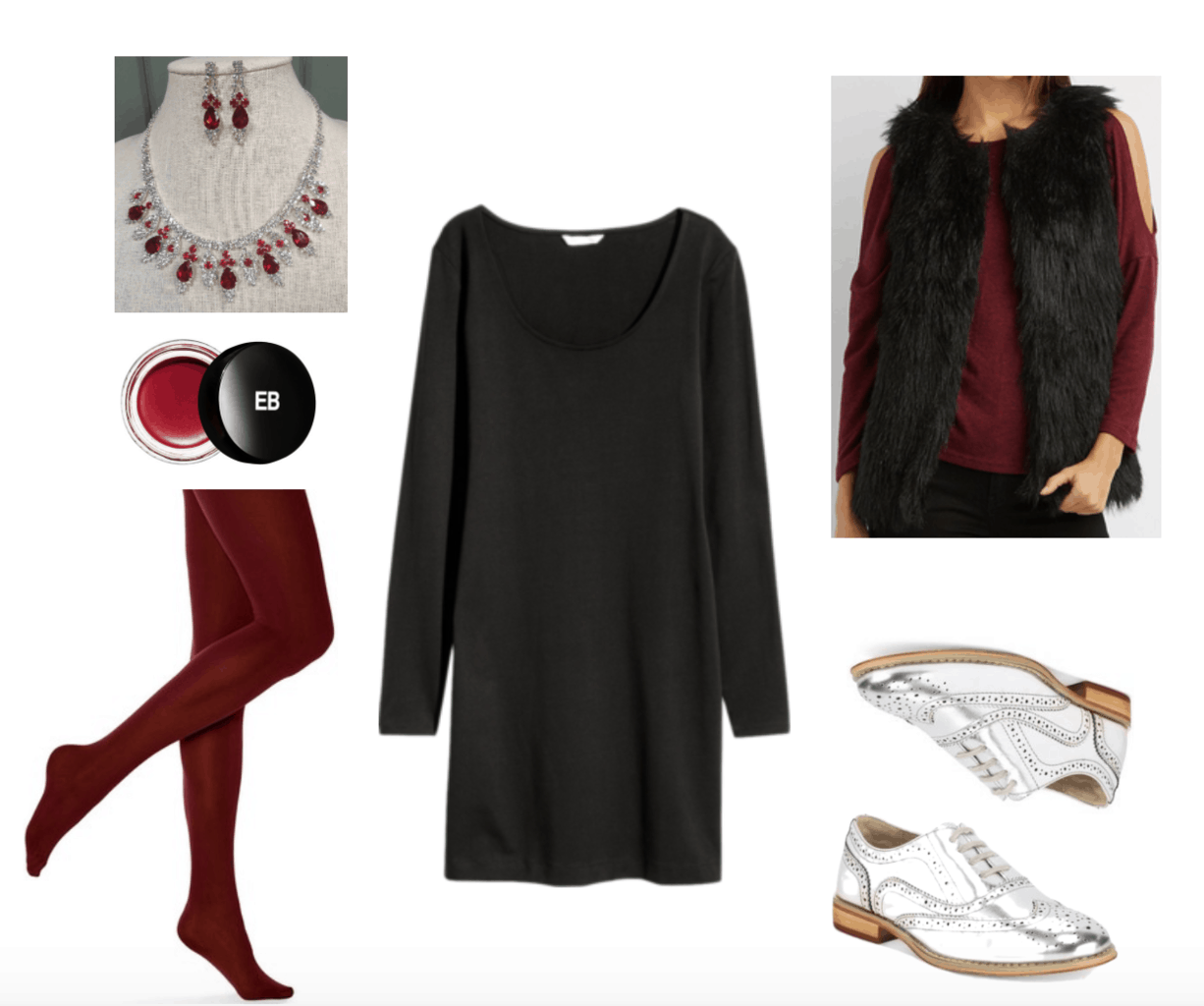 Little black dress outfit: LBD styled for Thanksgiving dinner with red tights and accessories.