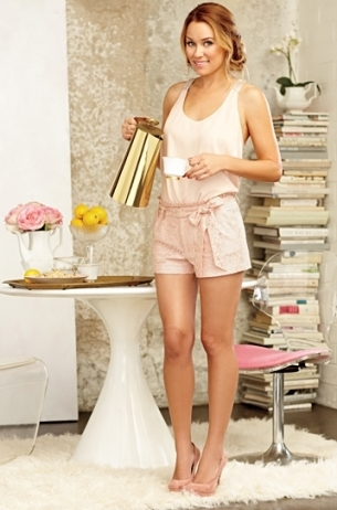LC Lauren Conrad for Kohl's Spring 2012: Pink shorts, silk cami, pumps