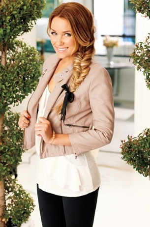 LC Lauren Conrad for Kohl's Spring 2012: White blouse, beige leather moto jacket
