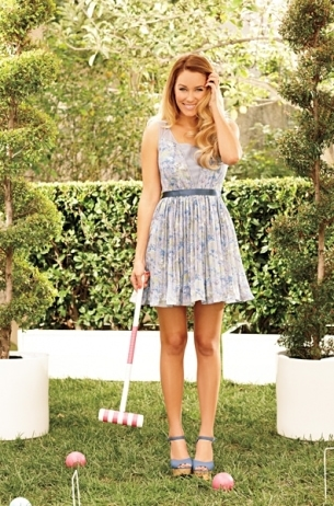 LC Lauren Conrad for Kohl's Spring 2012: Blue floral dress and wedges