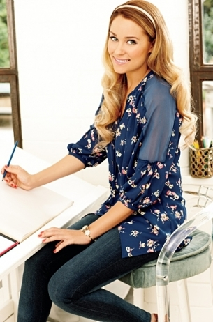 LC Lauren Conrad for Kohl's Spring 2012: Dark blue floral blouse