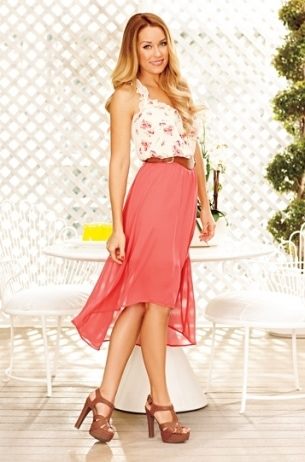 LC Lauren Conrad for Kohl's Spring 2012: Floral blouse, hot pink maxi skirt