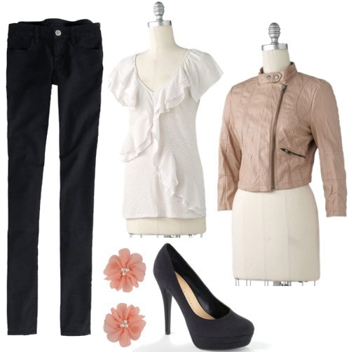 LC Lauren Conrad Spring 2012 Outfit 4: Black skinny jeans, white blouse, beige leather moto jacket, navy blue heels, pink flower earrings