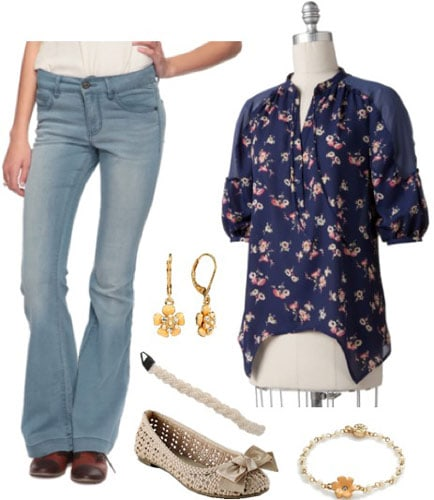 LC Lauren Conrad Spring 2012 Outfit 6: Flare jeans, dark blue blouse, peep-toe flats, earrings, headband