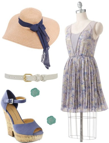 LC Lauren Conrad Spring 2012 Outfit 5: Blue floral dress, blue wedges, sun hat, white belt, green earrings