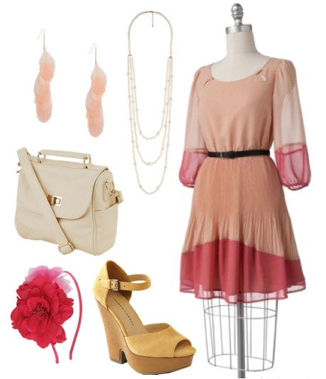 LC Lauren Conrad for Kohl's Spring 2012 Outfit 1: Pink colorblock dress, wedges, cross-body bag, headband, earrings, necklace