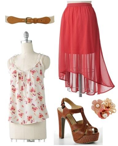 LC Lauren Conrad for Kohl's Spring 2012 Outfit 2: Floral blouse, high-low maxi skirt, platform sandals, belt, floral cluster ring