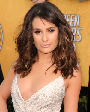 Lea Michele wearing a beach waves hairstyle