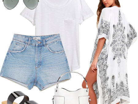Lea Michele Outfit: white t-shirt, denim Bermuda shorts, aviator sunglasses, white bucket bag, black and white printed kimono, and black double strap flat sunglasses