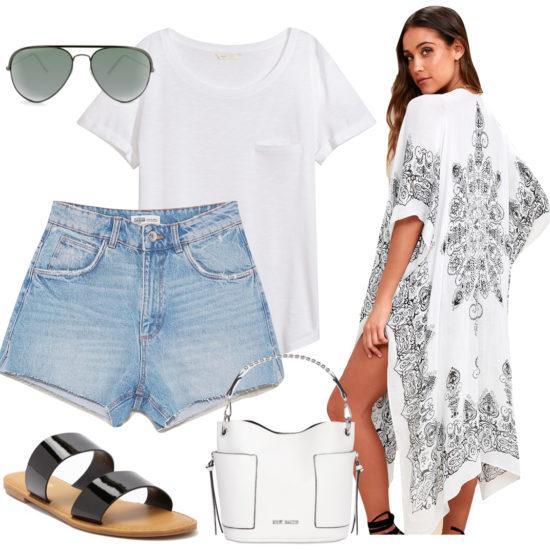 Lea Michele Outfit: white t-shirt, denim Bermuda shorts, aviator sunglasses, white bucket bag, black and white printed kimono, and black double strap flat sunglasses