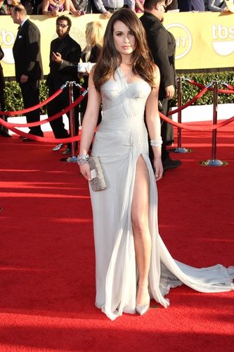 Lea Michele in Versace at the 2012 Screen Actor's Guild Awards