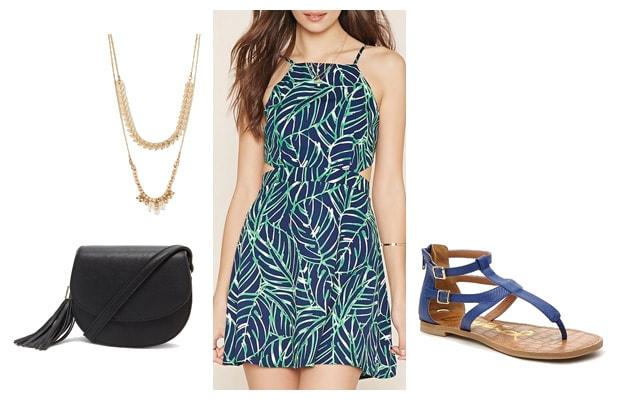 Leaf patterned dress blue spring outfit