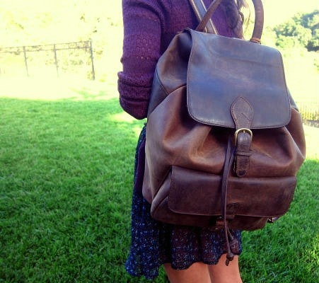 Leather bookbag at cal poly san luis obispo
