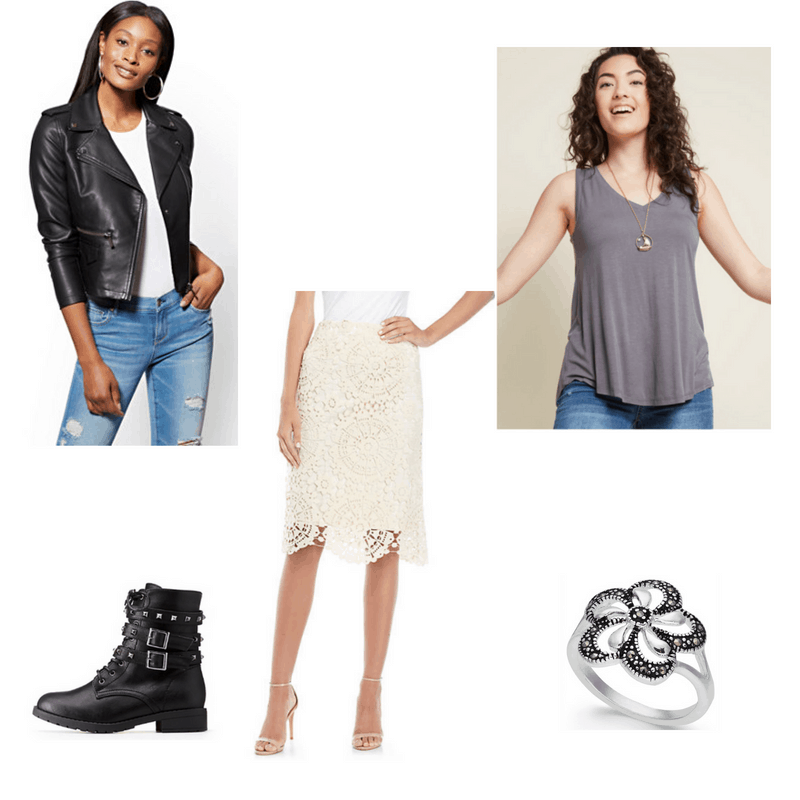 Outfit with leather jacket, white lace skirt, grey tank, combat boots, and flower ring